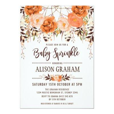 Rustic Boho Floral Autumn Baby Sprinkle Invitations