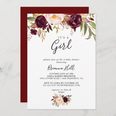 Rustic Boho Floral It's A Girl Baby Shower Invitation