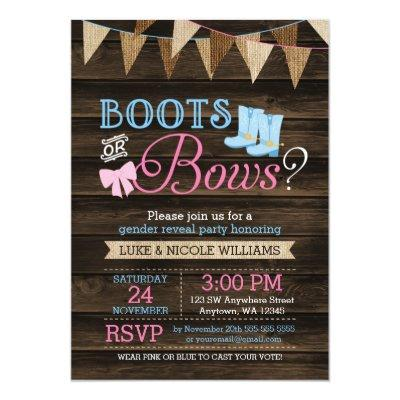 Rustic Boots or Bows Gender Reveal