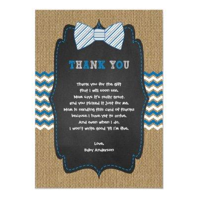 Rustic Boy Baby shower poem thank you note Invitations