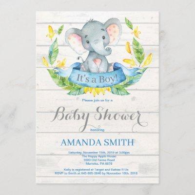 Rustic Boy Elephant Baby Shower Invitation Blue