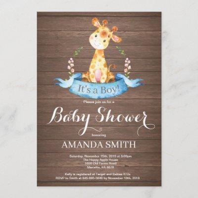 Rustic Boy Giraffe Baby Shower Invitation