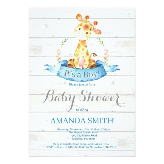 Rustic Boy Giraffe Baby Shower Invitation Blue