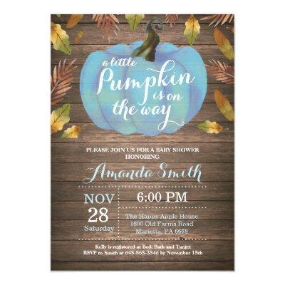 Rustic Boy Pumpkin Fall Baby Shower Invitation