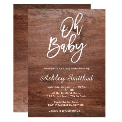 Rustic brown wood white chic Oh baby shower Invitation