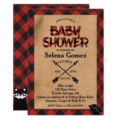 Rustic Buffalo Plaid Baby Shower Invitation