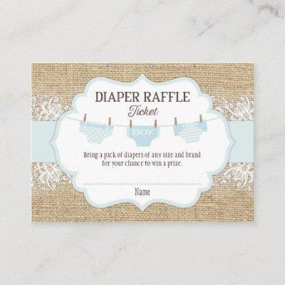Rustic Burlap Lace Blue Boy Diaper Raffle Ticket Enclosure Card