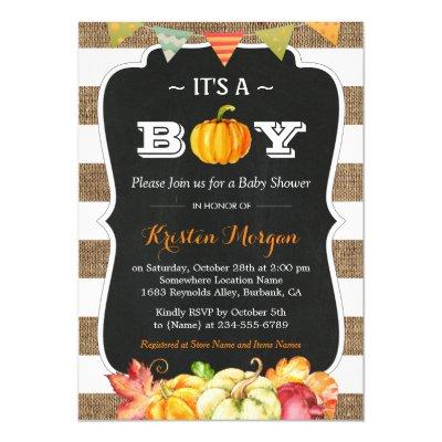 Rustic Burlap Pumpkin It's A Boy Fall