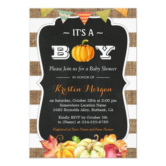 Rustic Burlap Pumpkin It's A Boy Fall
