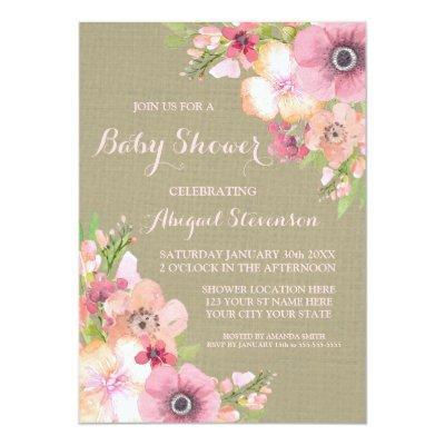 Rustic Burlap Watercolor Flowers Baby Shower Invitations