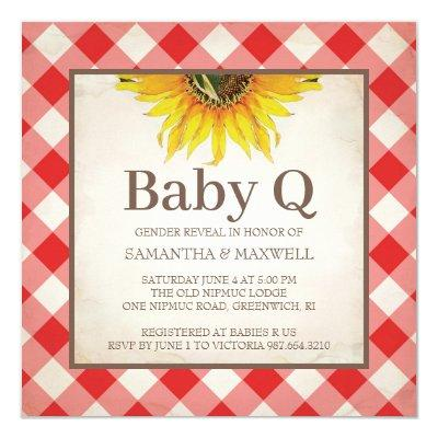 Rustic Checker Gender Reveal Red Baby Shower Invitation