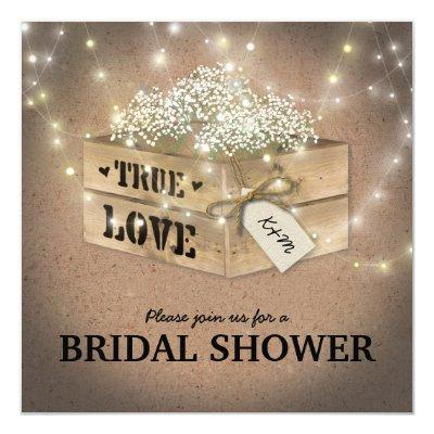 Rustic Country Bridal Shower Baby's Breath Lights Invitations