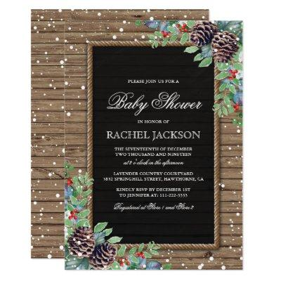 Rustic Country Christmas Winter Invitations