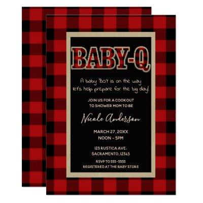 Rustic Country Red Buffalo Plaid BABY Q BBQ Shower Invitations