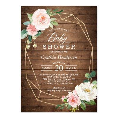 Rustic Cute Geometric Blush Floral Baby Shower Invitation