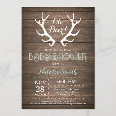 Rustic Deer Antler Baby Shower Invitation Aqua