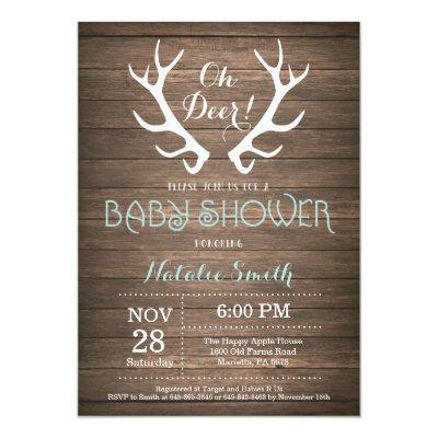 Rustic Deer Antler Baby Shower Invitation Aqua
