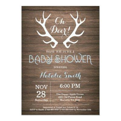 Rustic Deer Antler Baby Shower Invitation Blue