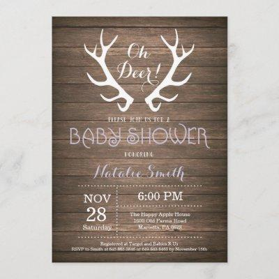 Rustic Deer Antler Baby Shower Invitation Purple