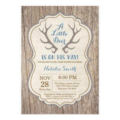 Rustic Deer Antler Blue Boy Baby Shower Invitations