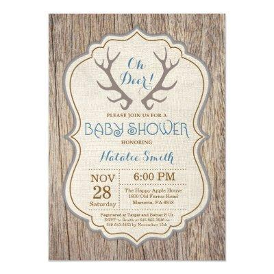 Rustic Deer Antler Oh Deer Boy Baby Shower Invitation