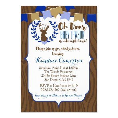 Rustic Deer Buck Invitation, Boy Blue Invitations