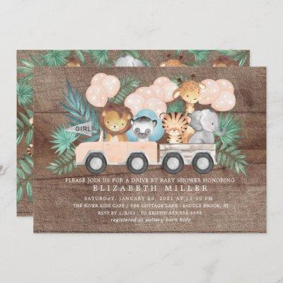 Rustic Drive By Jungle Animals Girls Baby Shower Invitation