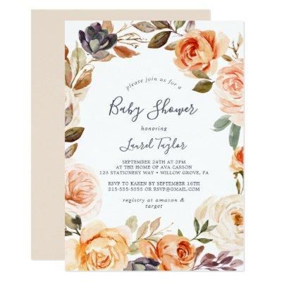 Rustic Earth Florals Baby Shower Invitation