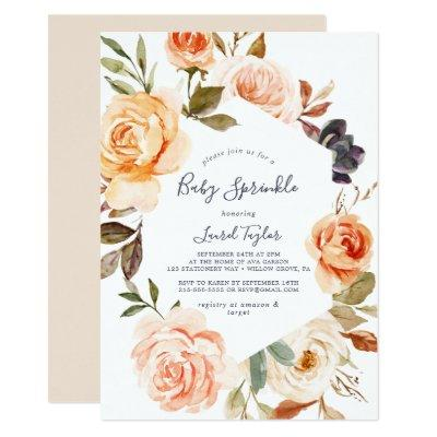 Rustic Earth Florals Baby Sprinkle Invitation