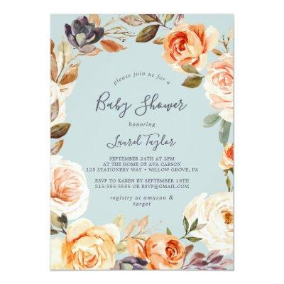 Rustic Earth Florals | Mint Baby Shower Invitation