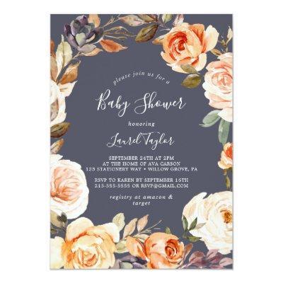 Rustic Earth Florals | Purple Baby Shower Invitation