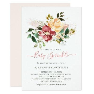 Rustic Elegance | Floral Baby Sprinkle Invitations