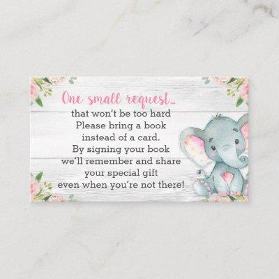 Rustic Elephant Baby Shower Book Request Invitations