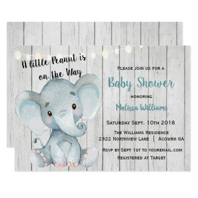 Rustic Elephant Baby Shower Invitations