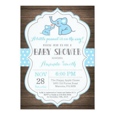 Rustic Elephant Baby Shower Invitation Blue