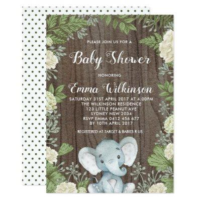 Rustic Elephant Baby Shower Invitation Botanical