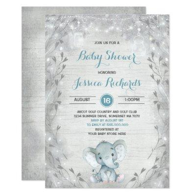 Rustic Elephant Baby Shower Invitations Boy Shower