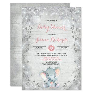 Rustic Elephant Baby Shower Invitations Girl Shower