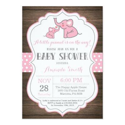 Rustic Elephant Baby Shower Invitation Pink