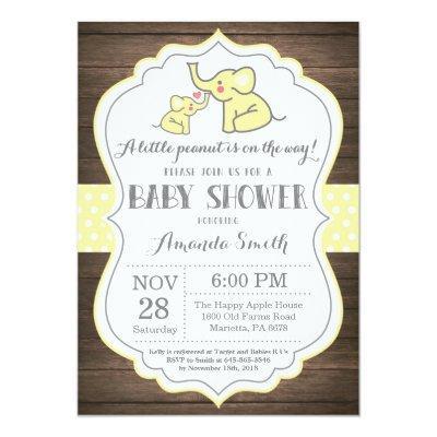 Rustic Elephant Baby Shower Invitation Yellow