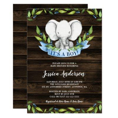 Rustic Elephant Boy Baby Shower Invitations