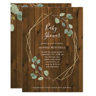 Rustic Eucalyptus Greenery | Geometric Baby Shower Invitation
