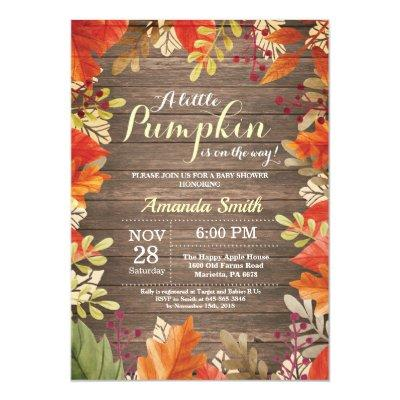 Rustic Fall Baby Shower Invitations