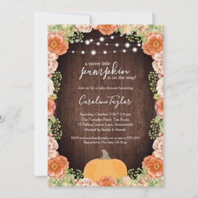 Rustic Fall Florals Wood Baby Shower Invitation