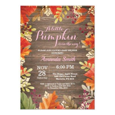 Rustic Fall Girl Baby Shower Invitations