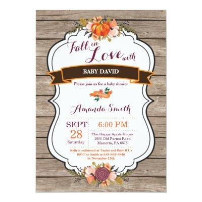 Rustic Fall in Love Pumpkin Baby Shower Invitation