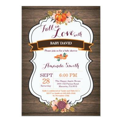 Rustic Fall in Love Pumpkin Baby Shower Invitations