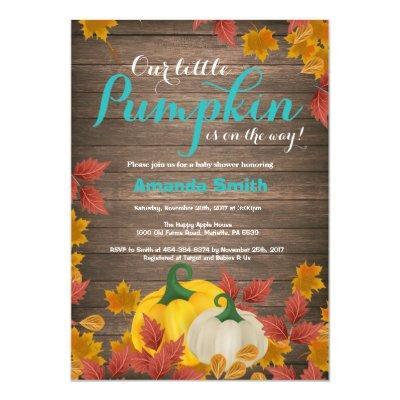 Rustic Fall Pumpkin Aqua Baby Shower Invitations