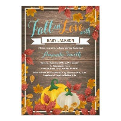 Rustic Fall Pumpkin Aqua Baby Shower invitation