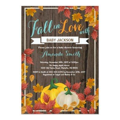 Rustic Fall Pumpkin Aqua Baby Shower invitation